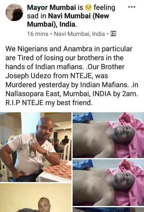 Nigerian man killed by unknown men in India (photos)
