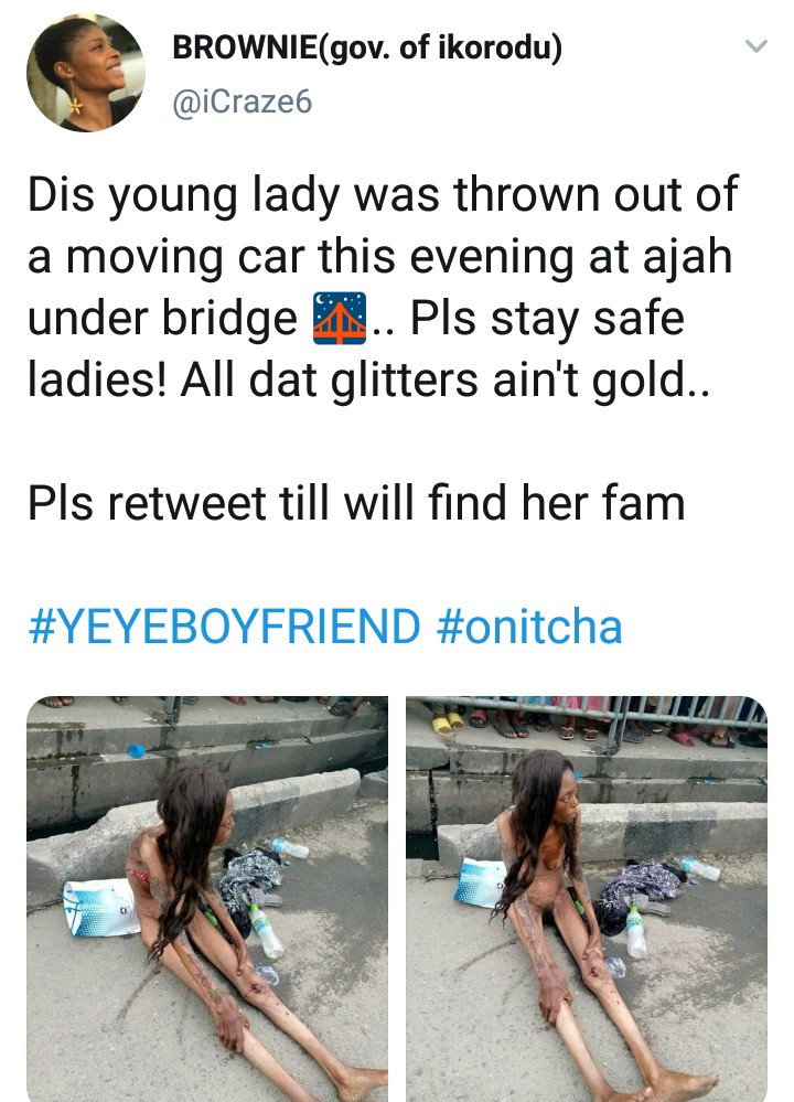 Naked woman thrown out of moving car at Ajah (photos/video)