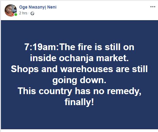 Tanker explosion: Some parts of Ochanja market in Onitsha is still on fire this morning (video)