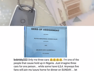 Bobrisky called out by followers for passing off a generator key as his car key