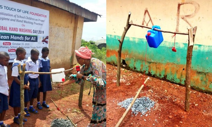 How is this happening in 2019? Lol. Enugu First Lady, Monica Ugwuanyi commissions tippy taps for primary school pupils (photos)