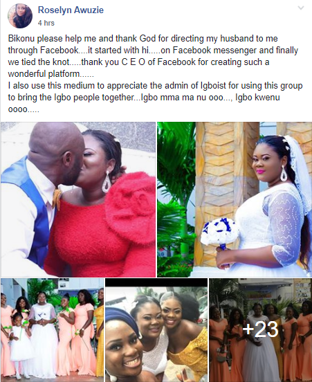 """It started with hi on Facebook""-  Bride thanks God for directing her husband to her through Facebook"