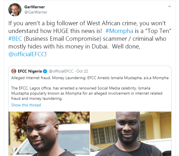Mompha is a top 10 Business Email Compromise scammer -  U.S Computer Forensics Researcher, Gar Warner commends EFCC on his arrest