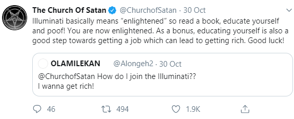 """Church of Satan"" schools a Twitter user who is desperate to get rich by joining the Illuminati"