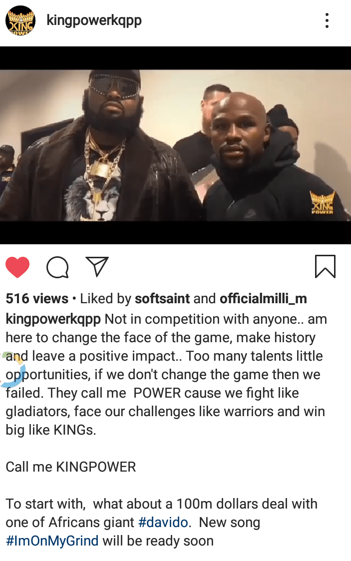 King Power about to make history by signing Davido with 100m dollars
