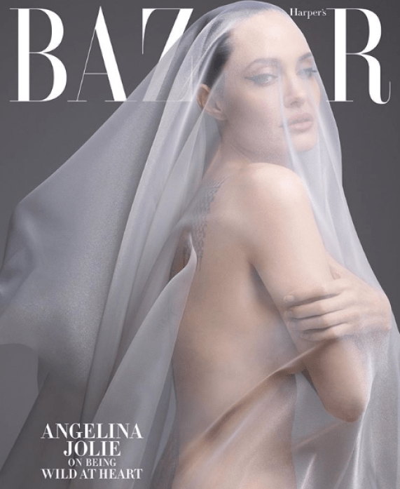 Angelina Jolie leaves little to the imagination as she covers Harper