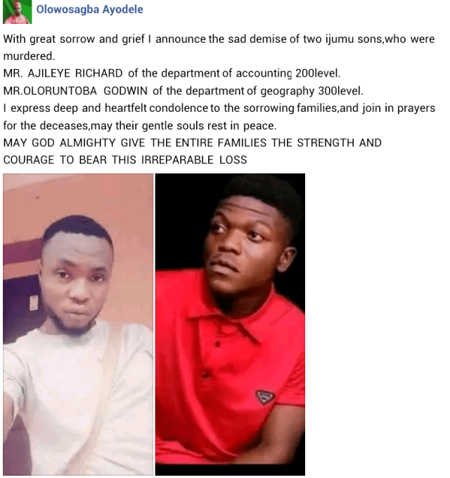3 Kogi State University students killed in rival cult clash