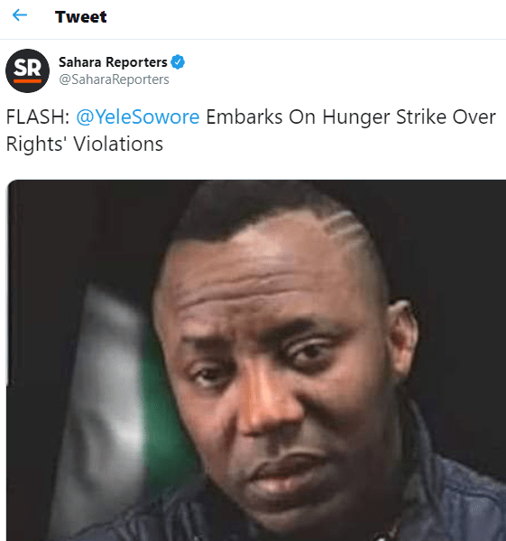 Omoyele Sowore embarks on hunger strike in DSS detention over rights