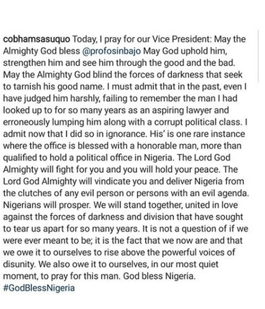 God will blind the forces of darkness seeking to tarnish your good name- Cobhams Asuquo offers prayers for VP Yemi Osinbajo