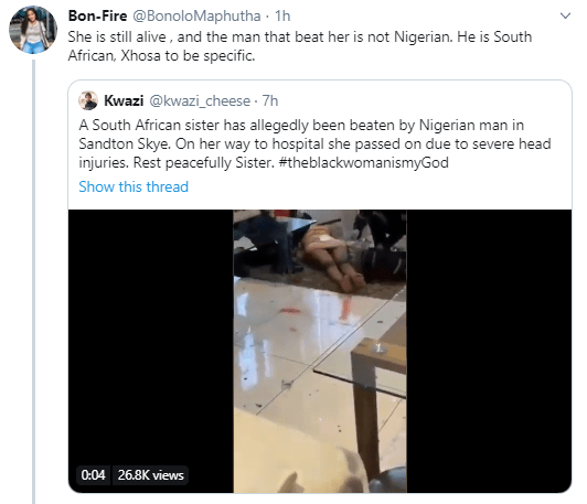 Possible xenophobia averted after a Nigerian man was accused on Twitter of killing a South African woman but it turns out the suspect is from SA (video)