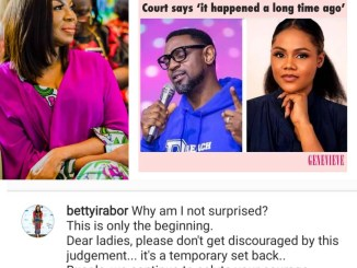 Dear ladies, don't get discouraged by this judgement- Betty Irabor reacts to Busola Dakolo/Biodun Fatoyinbo's rape case dismissal