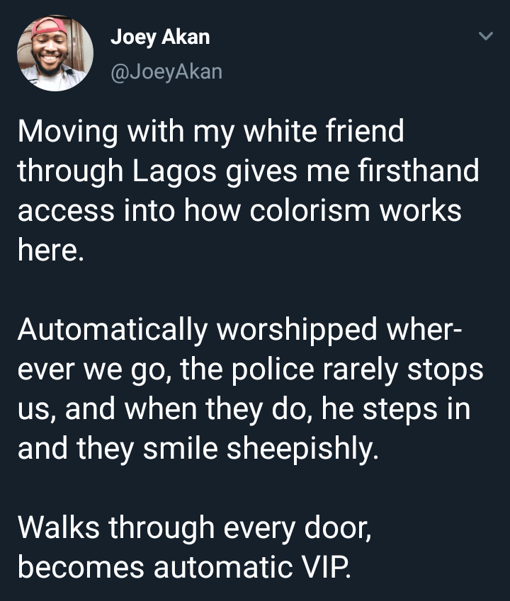 Nigerian journalist narrates how his 'white' friend gets special treatment every time they go out together