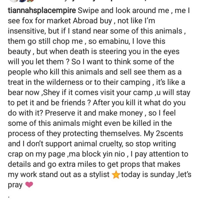 Toyin Lawani puts up a defence for killing animals to make fur then replies as follower cautions her for it