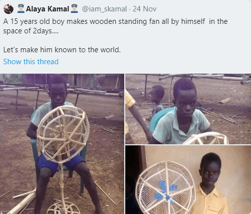 "Mixed reactions as a police officer shares photo of a boy, 15, who made a wooden fan and asked Nigerians to ""make him known to the world"""