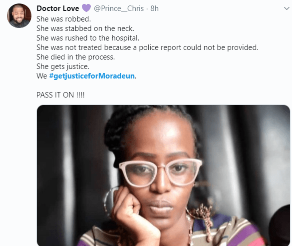 Brother of young lady who died from stab wounds after a hospital allegedly refused to treat her, weeps as he demands justice (video)