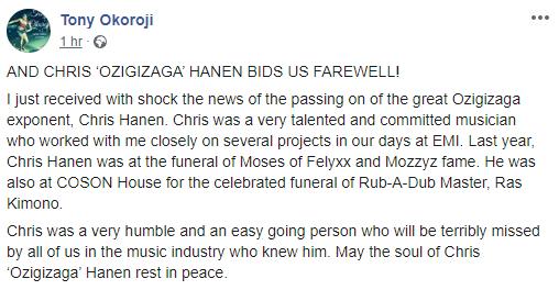 Ozigizaga singer, Chris Hanen, has died