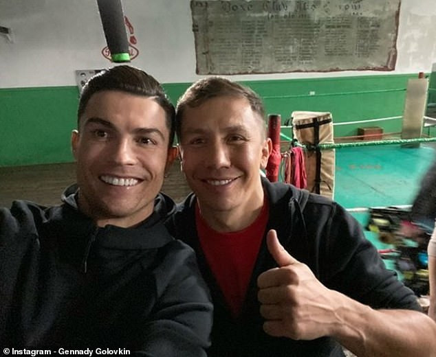 Cristiano Ronaldo pictured with professional boxer Gennady Golovkin, days after losing Ballon d