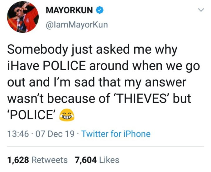 Mayorkun explains why he goes around with a lot of police escorts