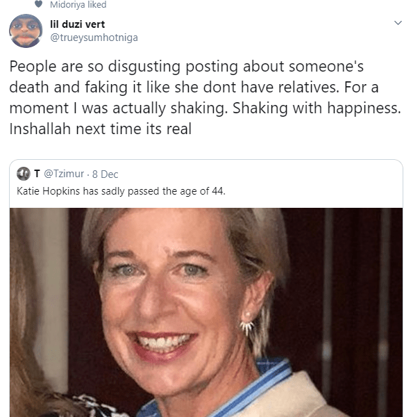 Twitter users react with joy when they erroneously thought Katie Hopkins had passed on