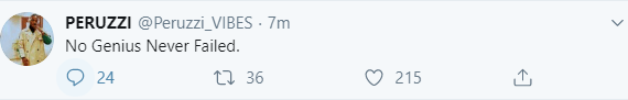 Peruzzi responds to a follower who said