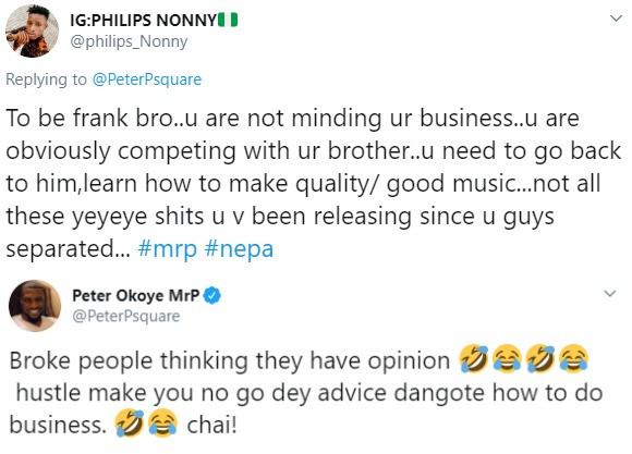 Peter Okoye replies troll who says he has been making