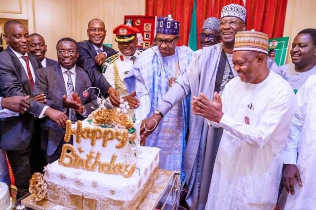 Photos: President Buhari celebrates 77th birthday in the state house
