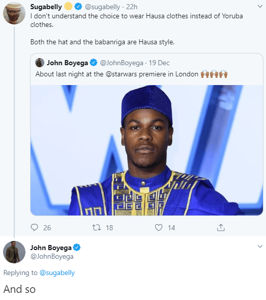 John Boyega dismisses Sugabelly after she criticized the outfit he wore to the Star Wars Premiere in London