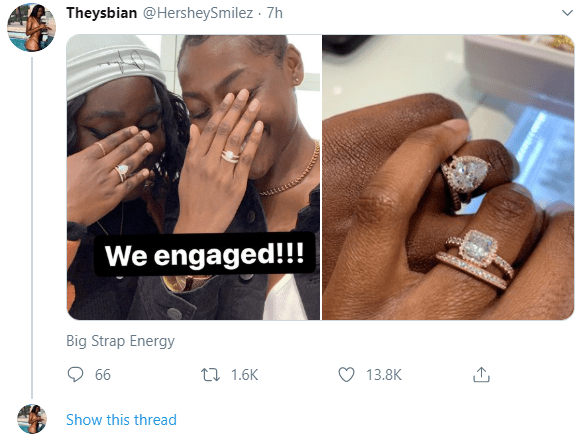 Two ladies show off their rings to announce their engagement to each other