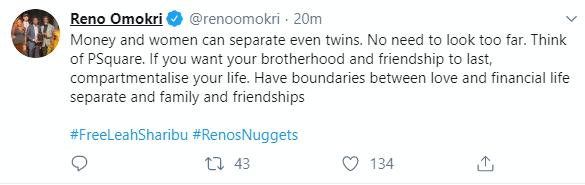 Reno Omokri blames money and women for P-Square