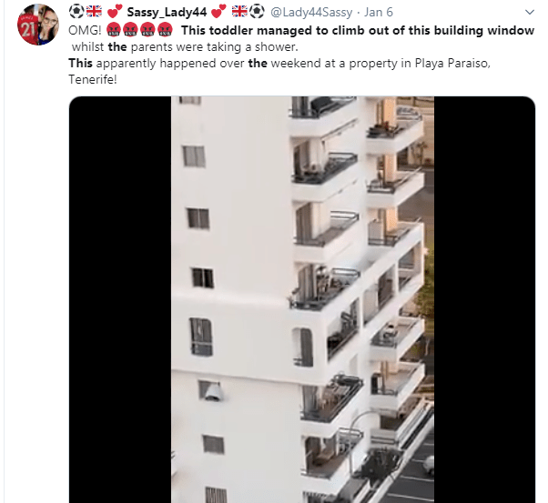 Watch the terrifying moment a toddler climbs out of fifth floor apartment window and stumbles along ledge in Tenerife
