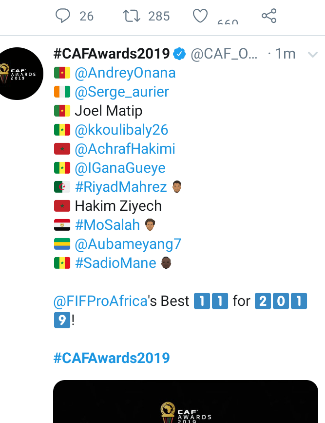 #CAFawards: Ighalo, Chukwueze, Ndidi and Osimhen snubbed as no Nigerian player made CAF Team of the year
