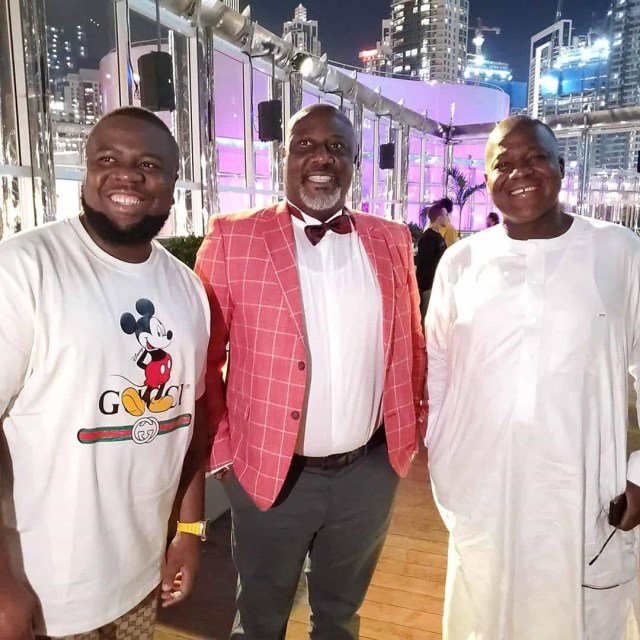 Dino Melaye shares photos from his birthday dinner in Dubai but Nigerians notice something interesting in one of the photos