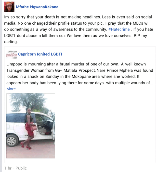 Transgender woman brutally murdered in South Africa