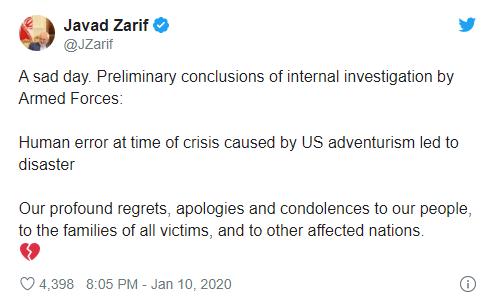 Iran admits shooting down Ukrainian airplane
