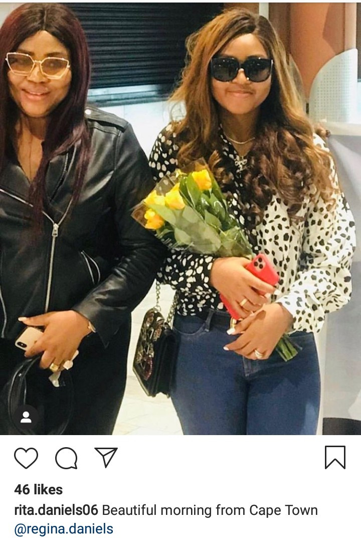 Living the good life! Rita Daniels updates her followers as she arrives Cape Town in style with daughter Regina Daniels