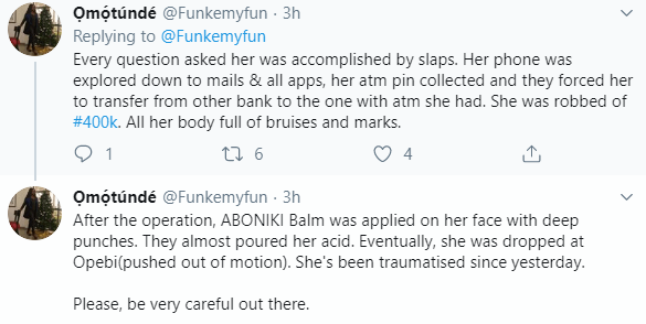 Twitter stories:  Lady gets attacked, her N400k stolen after she entered a private car that offered her a lift to work in Lagos