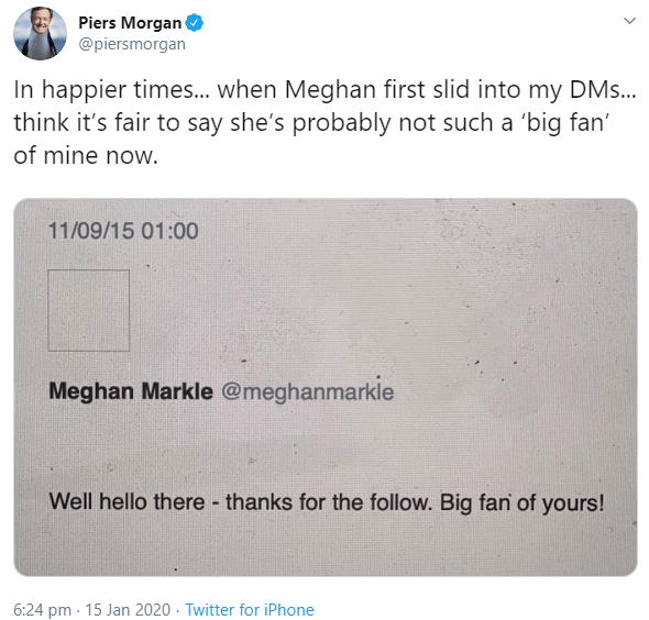 Piers Morgan accused of being obsessed with Meghan Markle as he shares screenshot of the first DM she sent to him