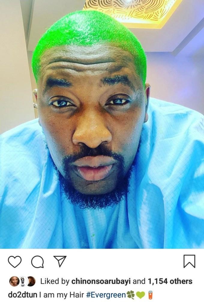 """I am my hair"" OAP Dotun says as he unveils green hair"