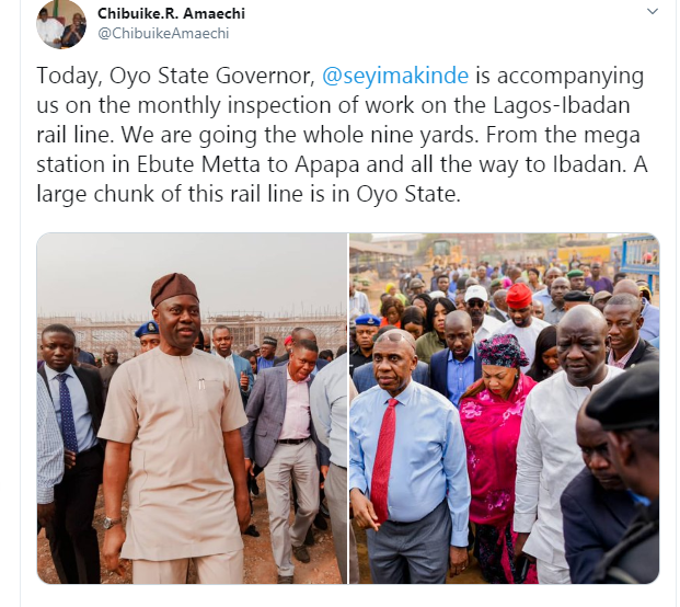 Completing Lagos-Ibadan rail line by April is no longer feasible - Amaechi