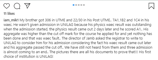 Boy with exceptional results denied admission to UNILAG due to an alleged failure to act on WAEC