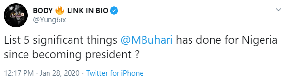 Rapper Yung6ix and Tolu Ogunlesi banter over the significant things President Buhari has done since becoming President