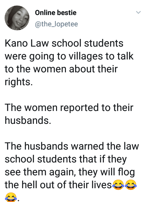 """Male villagers allegedly threatened to flog Kano Law School students for """"teaching their wives to be disrespectful"""""""