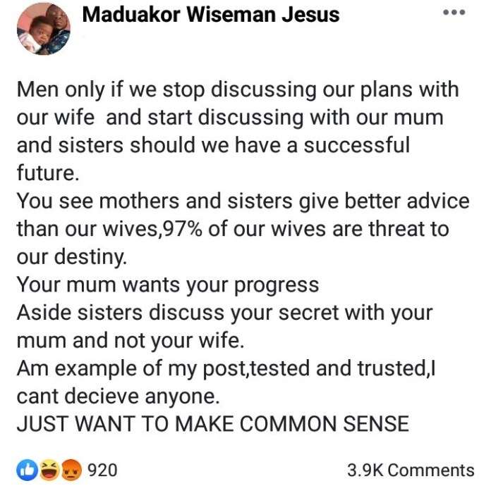 Men stop discussing your plans with your wives if you want to succeed - Wiseman advises