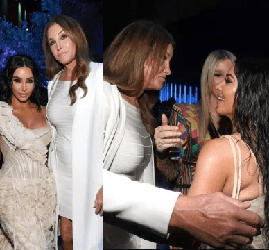 Kim Kardashian and Caitlyn Jenner hug and smile as they reunite at Vanity Fair Oscars party