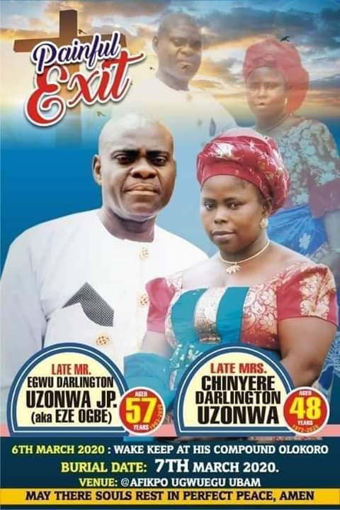 Couple shot dead by armed robbers before their children in Umuahia, set to be buried