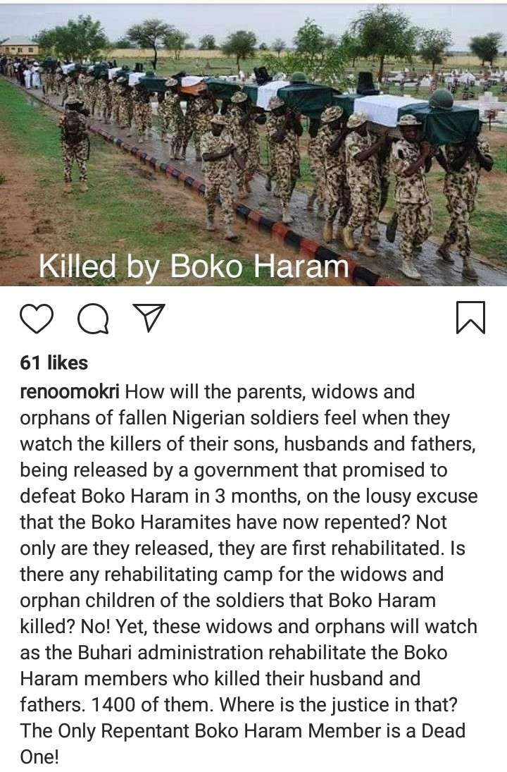 """""""The only repentant Boko Haram is a dead one"""" Reno Omokri says as he condemns the government for releasing 1,400 """"repentant"""" Boko Haram suspects"""