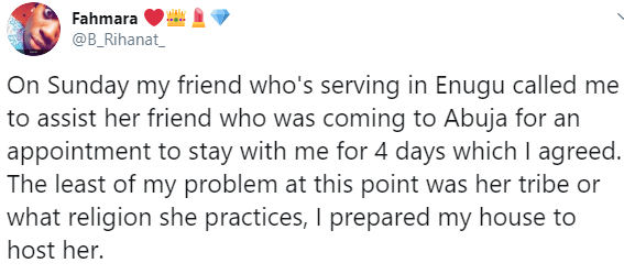 Twitter user narrates her unpleasant experience with a lady who mocked her religion after hosting her in her home in Abuja
