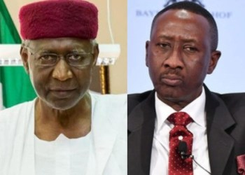 National Security adviser, Babagana Mongono, allegedly at loggerheads with Buhari's Chief of Employees, Abba Kyari, over National security matters