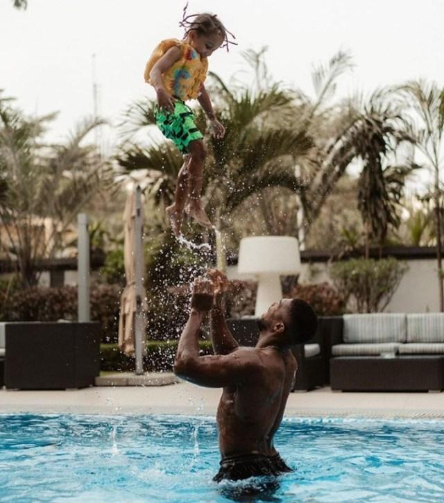 Adorable photo of Anthony Joshua bonding with his son JJ