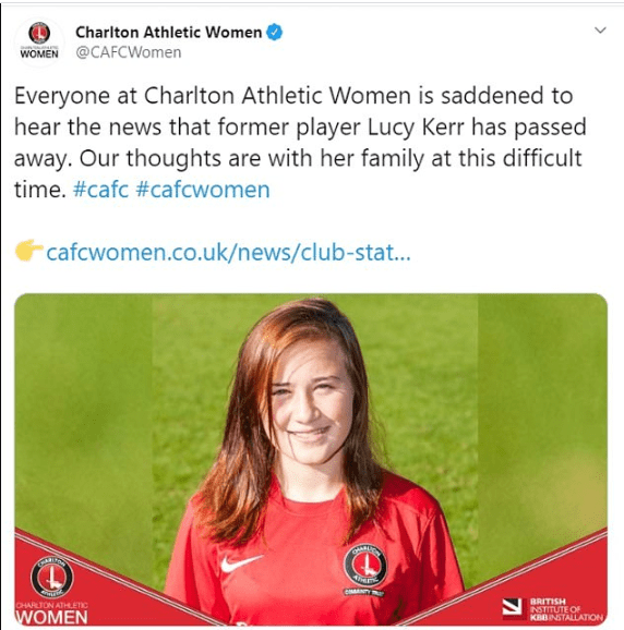 Female footballer Lucy Kerr tragically dies after losing battle with bone cancer